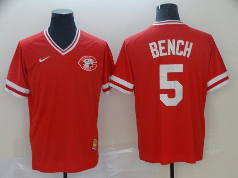 Men's Cincinnati Reds 5 Johnny Bench Red Throwback Jersey