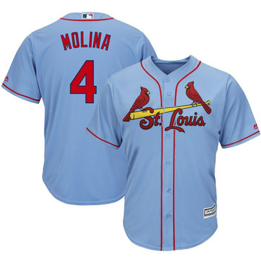 Men's St. Louis Cardinals #4 Yadier Molina Light Blue Cool Base Jersey
