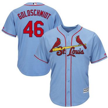 Men's St. Louis Cardinals #46 Paul Goldschmidt Light Blue Cool Base Jersey