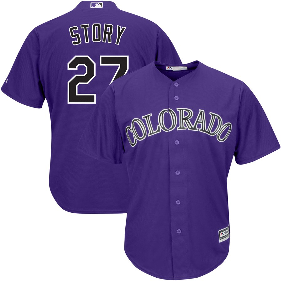 Men's Colorado Rockies 27 Trevor Story Purple Cool Base Jersey
