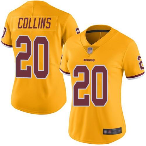 Nike Redskins 20 Landon Collins Gold Women Color Rush Limited Jersey