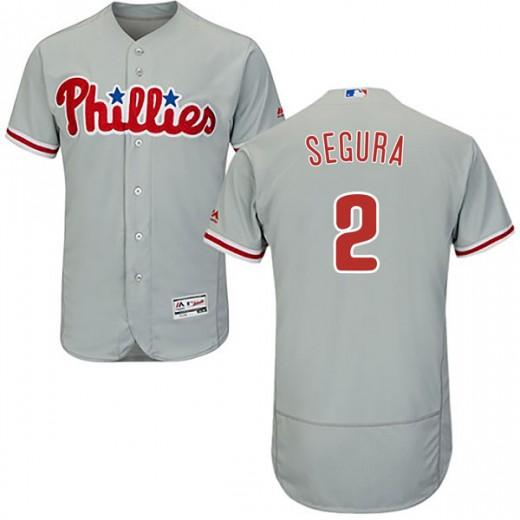 Men's Philadelphia Phillies #2 Jean Segura Gray Flex Base Jersey