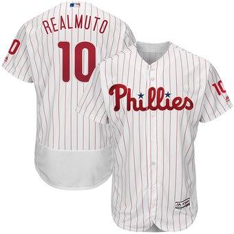 Men's Philadelphia Phillies #10 JT Realmuto White Home Flex Base Jersey