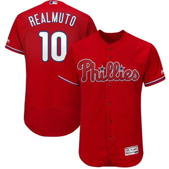 Men's Philadelphia Phillies #10 JT Realmuto Red Flex Base Jersey