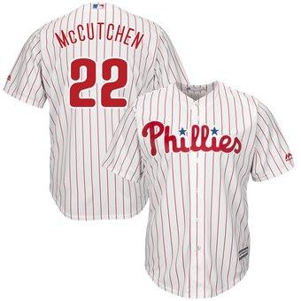 Men's Philadelphia Phillies #22 Andrew McCutchen Majestic White Scarlet Cool Base Jersey
