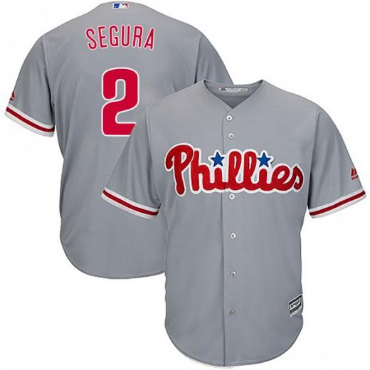 Men's Philadelphia Phillies #2 Jean Segura Gray Cool Base Jersey