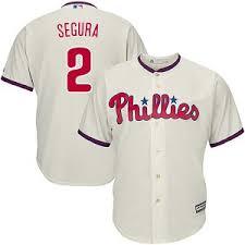 Men's Philadelphia Phillies #2 Jean Segura cream Cool Base Jersey