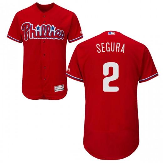Men's Philadelphia Phillies #2 Jean Segura Scarlet Flex Base Jersey