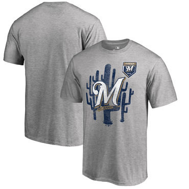 Milwaukee Brewers Fanatics Branded 2018 MLB Spring Training Vintage T Shirt Heather Gray