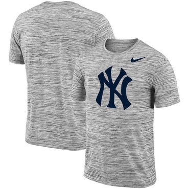 New York Yankees Nike Heathered Black Sideline Legend Velocity Travel Performance T-Shirt