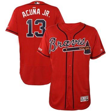 Size 5XL Men's Atlanta Braves #13 Ronald Acuna Jr Scarlet 150th Patch Flexbase Jersey