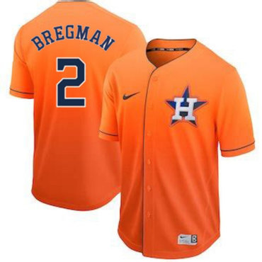 Men's Houston Astros 2 Alex Bregman Orange Drift Fashion Jersey