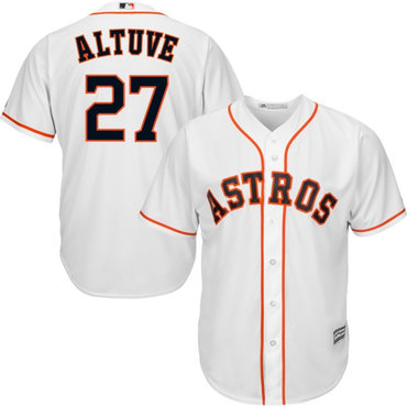 Men's Houston Astros 27 Jose Altuve White Cool Base Jersey