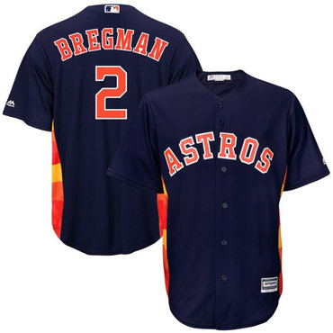 Men's Houston Astros 2 Alex Bregman Navy Cool Base Jersey