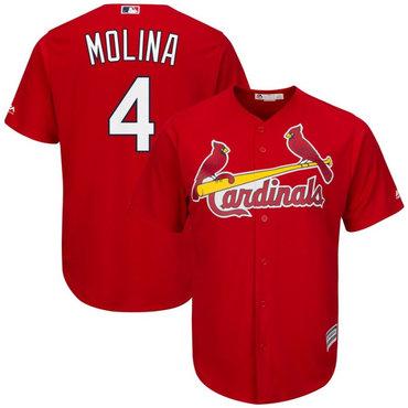 Men's St. Louis Cardinals 4 Yadier Molina Red Cool Base Jersey