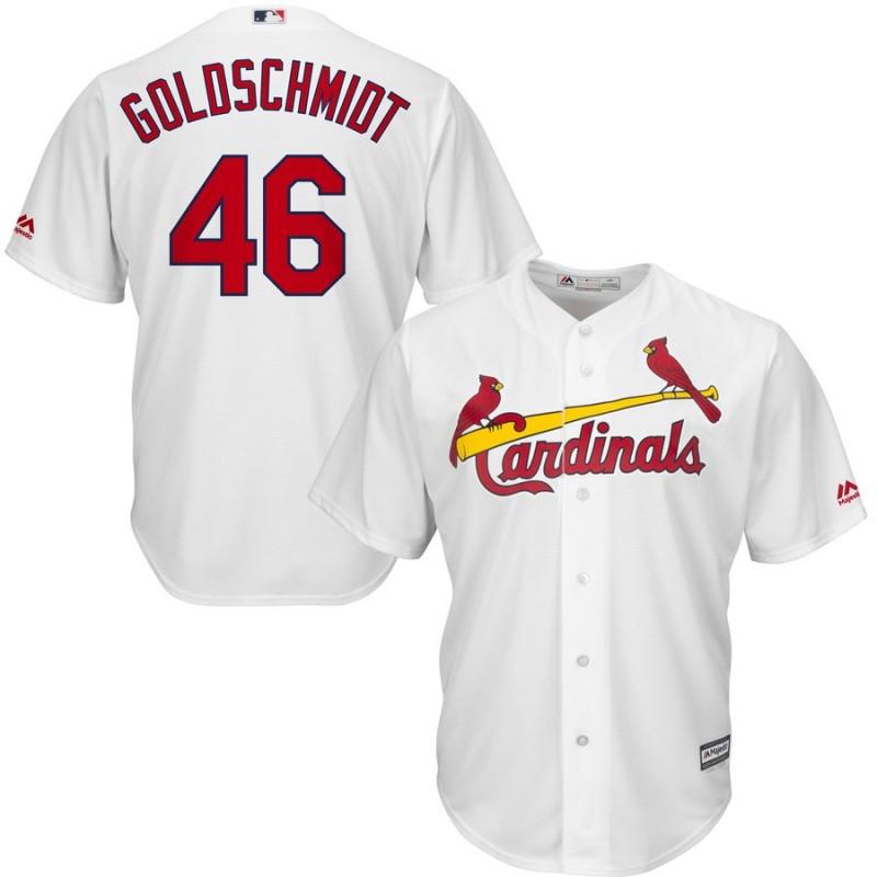 Men's St. Louis Cardinals 46 Paul Goldschmidt White Cool Base Jersey