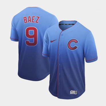 Men's Chicago Cubs 9 Javier Baez Blue Drift Fashion Jersey