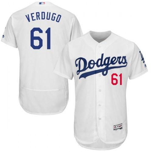 Men's Los Angeles Dodgers 61 Alex Verdugo White Flexbase Jersey