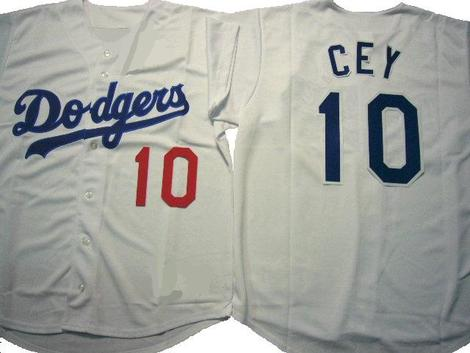 Men's Los Angeles Dodgers 10 Ron Cey Gray Cool Base Jersey