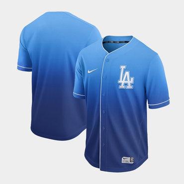 Men's Los Angeles Dodgers Blank Blue Drift Fashion Jersey