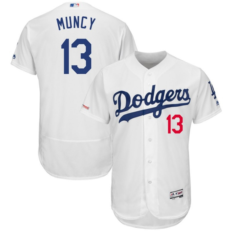 Men's Los Angeles Dodgers 13 Max Muncy White 150th Patch Flexbase Jersey