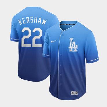 Men's Los Angeles Dodgers 22 Clayton Kershaw Blue Drift Fashion Jersey