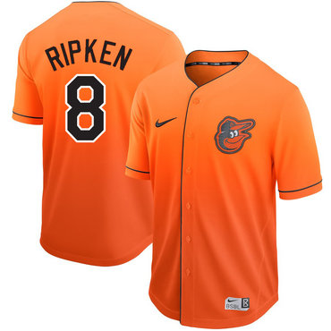 Men's Baltimore Orioles 8 Cal Ripken Jr Orange Drift Fashion Jersey