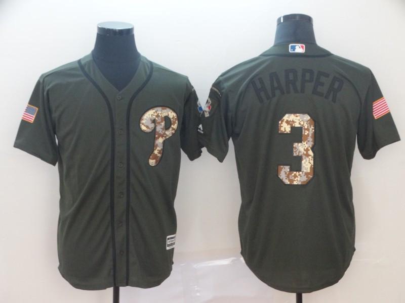 Men's Philadelphia Phillies 3 Bryce Harper Olive Camo Salute To Service Cool Base Jersey