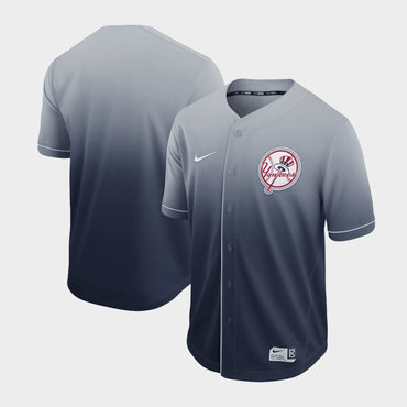 Men's New York Yankees Blank Gray Drift Fashion Jersey