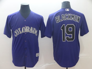 Men's Colorado Rockies 19 Charlie Blackmon Purple Cool Base Jersey
