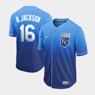 Men's Kansas City Royals 16 Bo Jackson Blue Drift Fashion Jersey