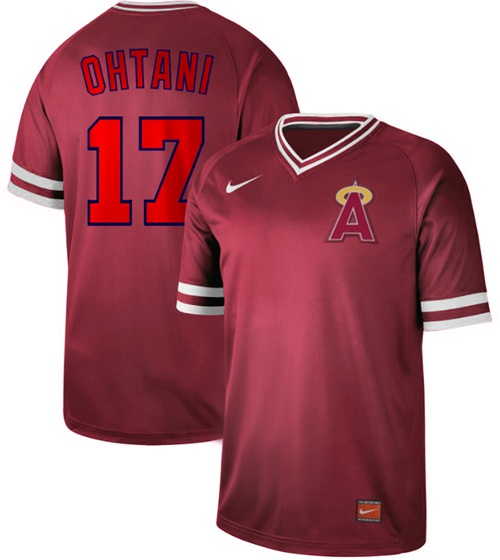 Angels of Anaheim #17 Shohei Ohtani Red Authentic Cooperstown Collection Stitched Baseball Jersey