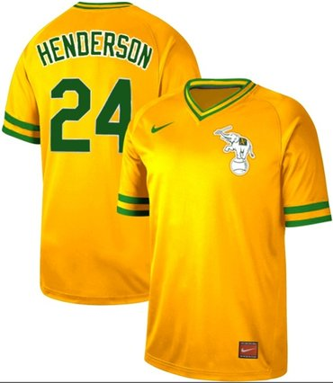 Athletics #24 Rickey Henderson Yellow Authentic Cooperstown Collection Stitched Baseball Jersey