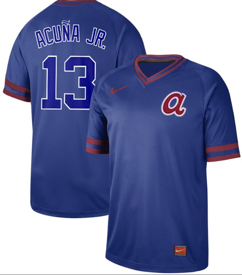 Braves #13 Ronald Acuna Jr. Royal Authentic Cooperstown Collection Stitched Baseball Jersey