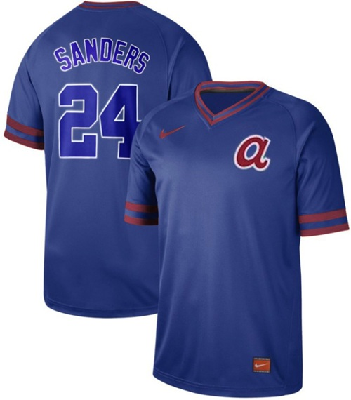 Braves #24 Deion Sanders Royal Authentic Cooperstown Collection Stitched Baseball Jersey