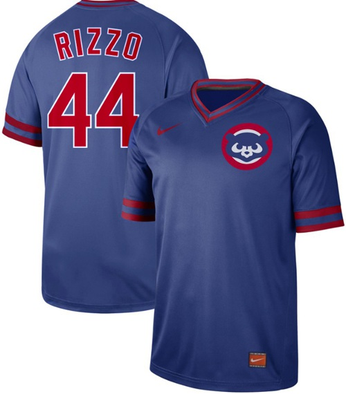 333b3bdbd7b Cubs  44 Anthony Rizzo Royal Authentic Cooperstown Collection Stitched Baseball  Jersey