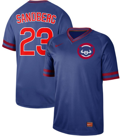 Cubs #23 Ryne Sandberg Royal Authentic Cooperstown Collection Stitched Baseball Jersey