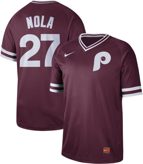 Phillies #27 Aaron Nola Maroon Authentic Cooperstown Collection Stitched Baseball Jersey