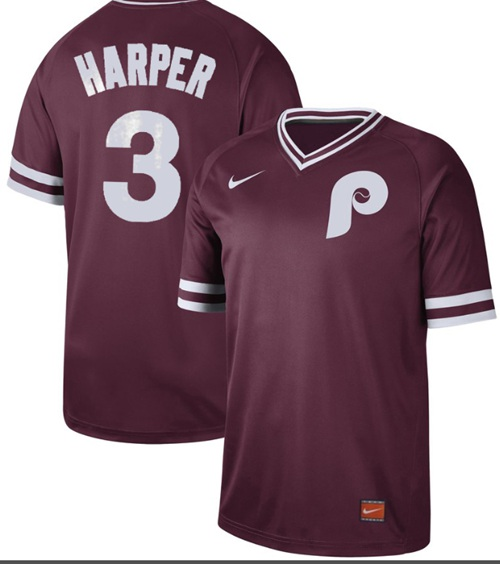Phillies #3 Bryce Harper Maroon Authentic Cooperstown Collection Stitched Baseball Jersey