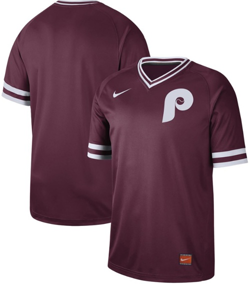 Phillies Blank Maroon Authentic Cooperstown Collection Stitched Baseball Jersey