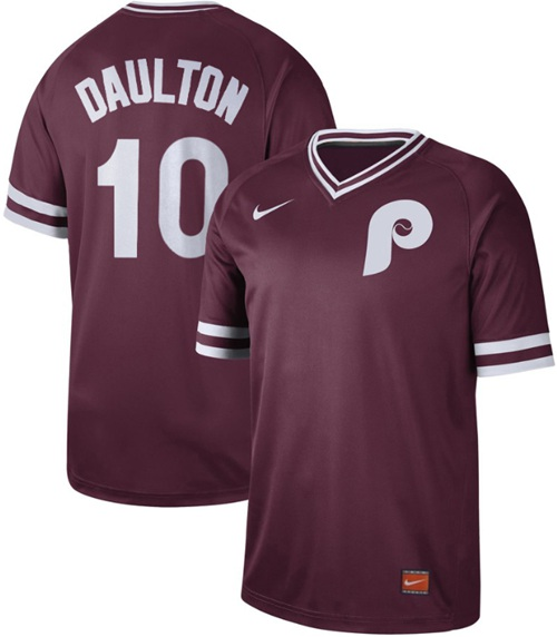 Phillies #10 Darren Daulton Maroon Authentic Cooperstown Collection Stitched Baseball Jersey