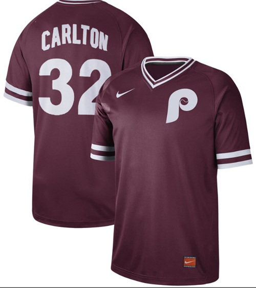 Phillies #32 Steve Carlton Maroon Authentic Cooperstown Collection Stitched Baseball Jersey
