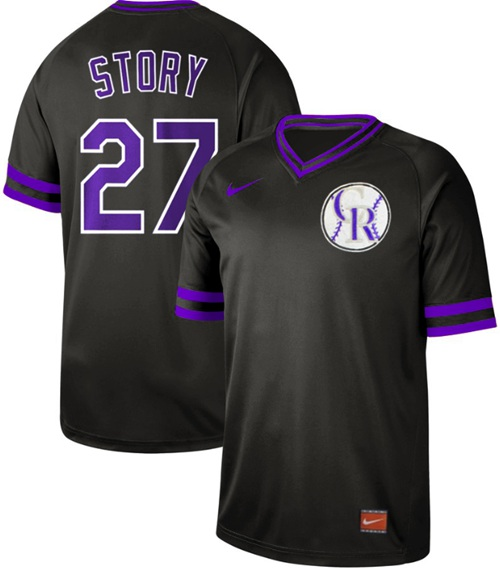 Rockies #27 Trevor Story Black Authentic Cooperstown Collection Stitched Baseball Jersey
