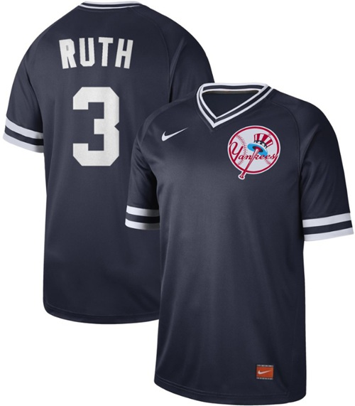 Yankees #3 Babe Ruth Navy Authentic Cooperstown Collection Stitched Baseball Jersey