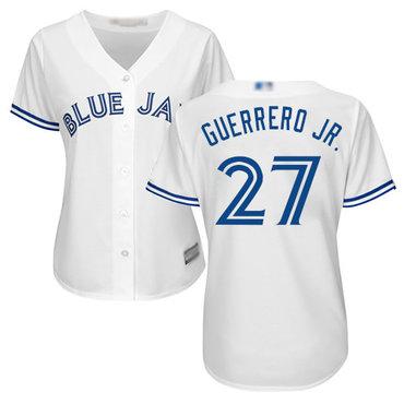 Blue Jays #27 Vladimir Guerrero Jr. White Home Women's Stitched Baseball Jersey