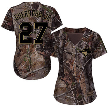 Blue Jays #27 Vladimir Guerrero Jr. Camo Realtree Collection Cool Base Women's Stitched Baseball Jersey
