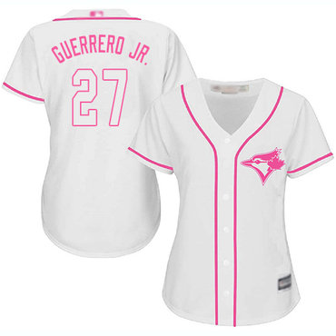 Blue Jays #27 Vladimir Guerrero Jr. White Pink Fashion Women's Stitched Baseball Jersey