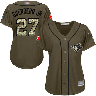 Blue Jays #27 Vladimir Guerrero Jr. Green Salute to Service Women's Stitched Baseball Jersey