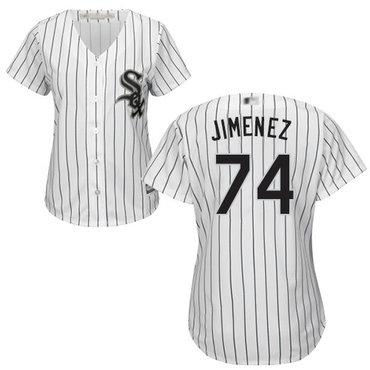 White Sox #74 Eloy Jimenez White(Black Strip) Home Women's Stitched Baseball Jersey