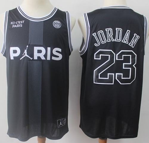 Bulls #23 Michael Jordan Black Ici C'est Paris Stitched Basketball Jersey